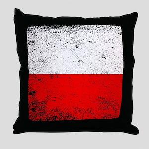 Flag of Poland Grunge Throw Pillow