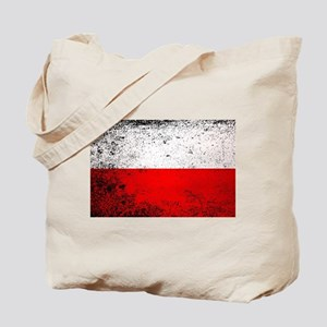 Flag of Poland Grunge Tote Bag