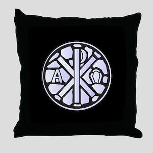 Alpha Omega Glass Window Throw Pillow