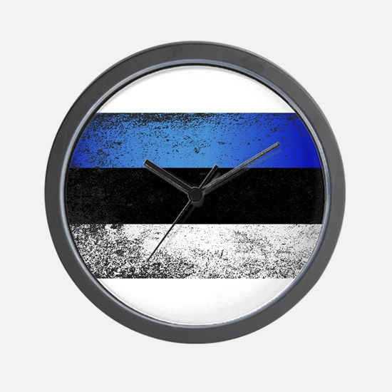 Flag of Estonia Grunge Wall Clock