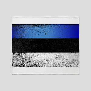 Flag of Estonia Grunge Throw Blanket