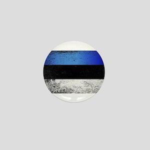 Flag of Estonia Grunge Mini Button