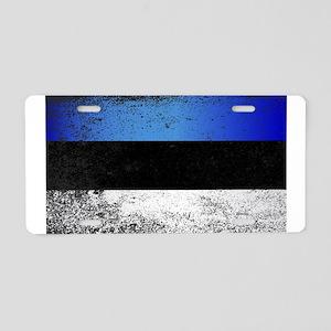 Flag of Estonia Grunge Aluminum License Plate