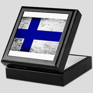 Flag of Finland Grunge Keepsake Box