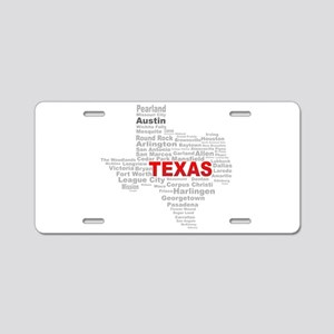 Texas State Word Cloud Aluminum License Plate