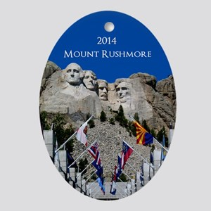 Customizable Mt Rushmore Avenue of Flags Oval Orna
