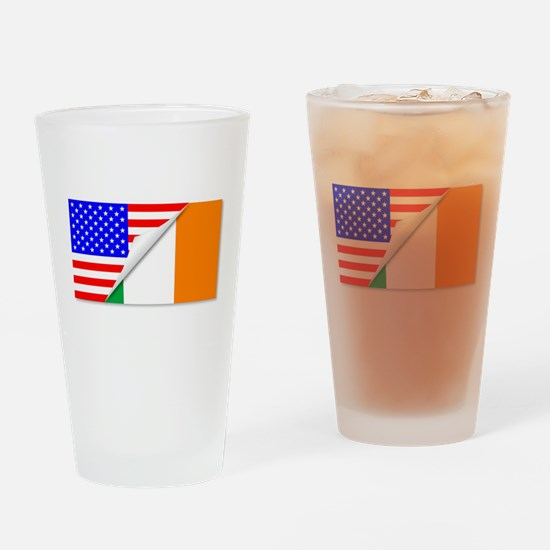 United States and Eire Flags Combin Drinking Glass