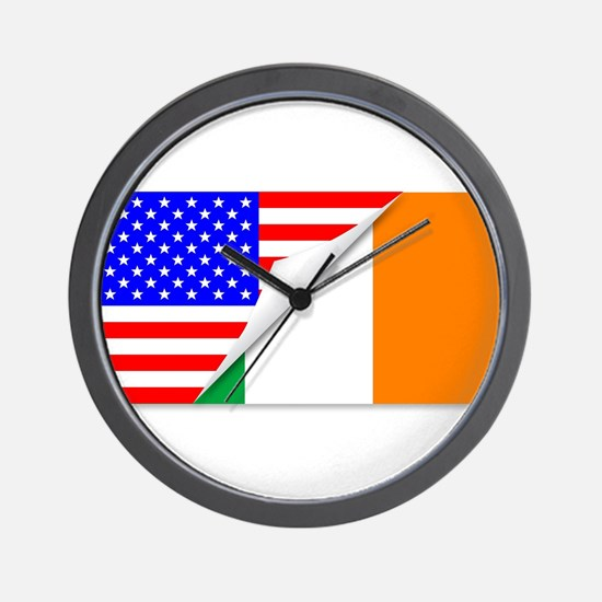 United States and Eire Flags Combined Wall Clock