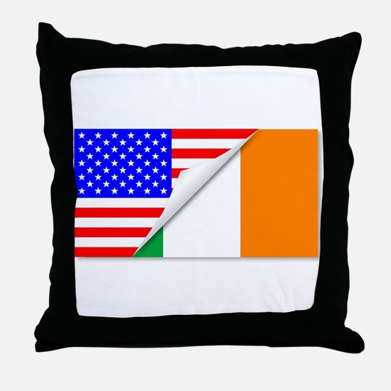 United States and Eire Flags Combined Throw Pillow