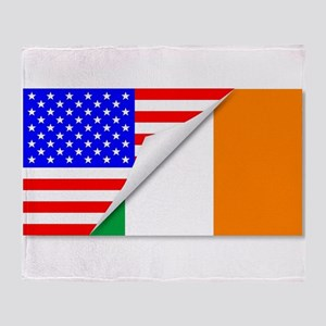 United States and Eire Flags Combine Throw Blanket