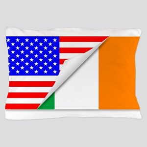 United States and Eire Flags Combined Pillow Case