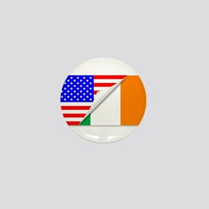 United States and Eire Flags Combined Mini Button