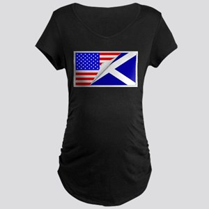 United States and Scotland Flags Maternity T-Shirt