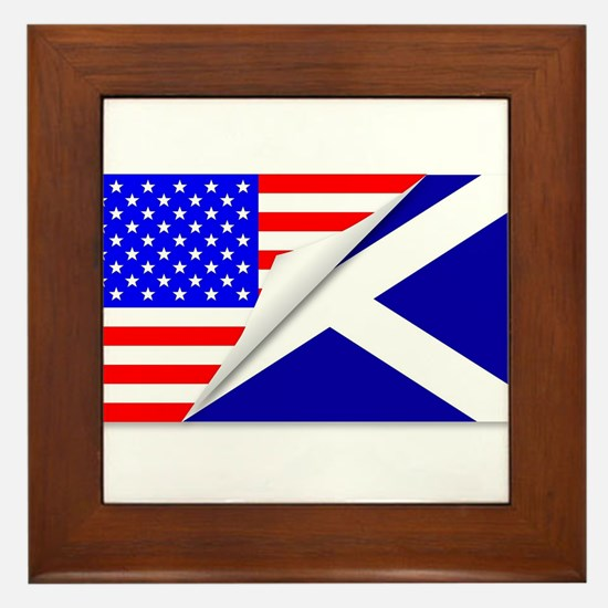 United States and Scotland Flags Combi Framed Tile
