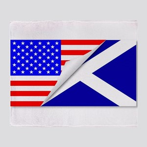 United States and Scotland Flags Com Throw Blanket