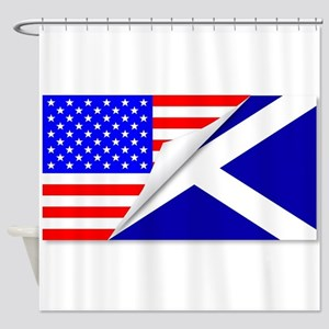United States and Scotland Flags Co Shower Curtain
