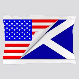 United States and Scotland Flags Combi Pillow Case