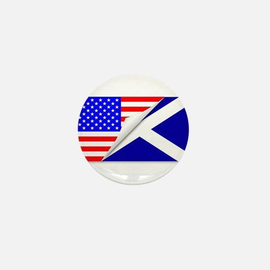 United States and Scotland Flags Combi Mini Button