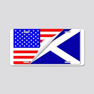 United States and Scotland Aluminum License Plate