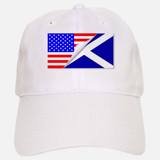 United States and Scotland Flags Combined Baseball Baseball Cap