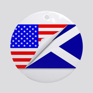 United States and Scotland Flags Co Round Ornament