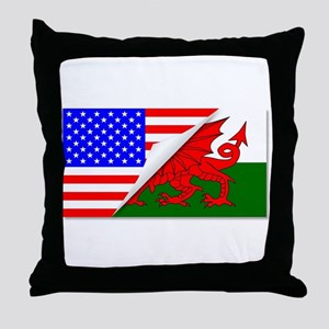 United States and welsh Flags Combine Throw Pillow