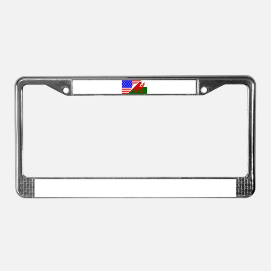 United States and welsh Flags License Plate Frame