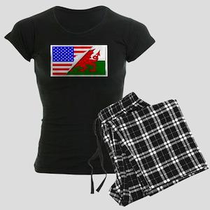 United States and welsh Flag Women's Dark Pajamas