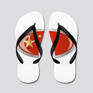 Chinese Flag Oval Button Flip Flops