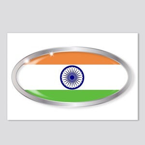India Flag Oval Button Postcards (Package of 8)