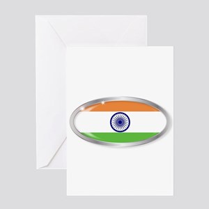 India Flag Oval Button Greeting Cards