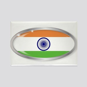India Flag Oval Button Magnets