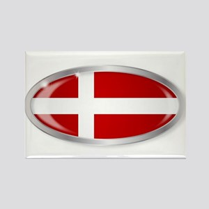 Danish Flag Oval Button Magnets