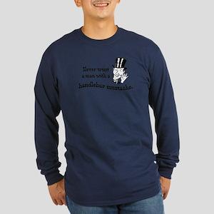 Handlebar Mustache Long Sleeve Dark T-Shirt