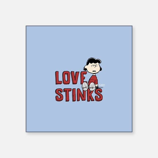 "Peanuts: Lucy love Stinks Square Sticker 3"" x 3"""