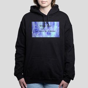 Blue Flames Metal Women's Hooded Sweatshirt