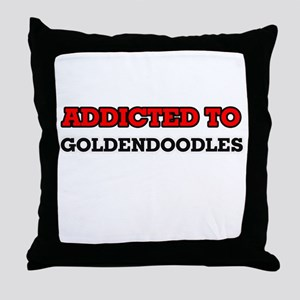 Addicted to Goldendoodles Throw Pillow