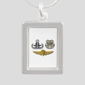 Navy - EOD Master, Diver Silver Portrait Necklace
