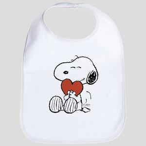 Snoopy on Heart Baby Bib
