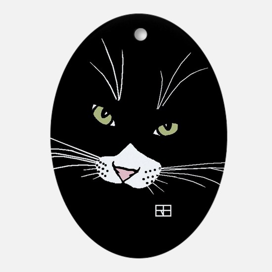 Cool Cat face Oval Ornament