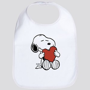 Snoopy on Heart Baby Bib