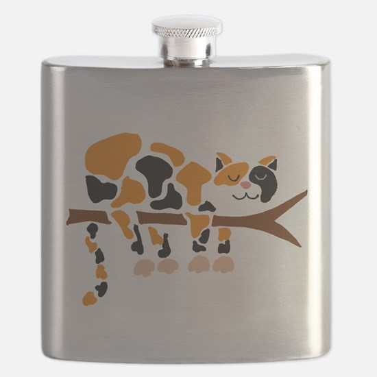 Calico Cat in Tree Flask
