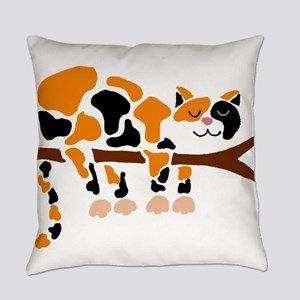 Calico Cat in Tree Everyday Pillow