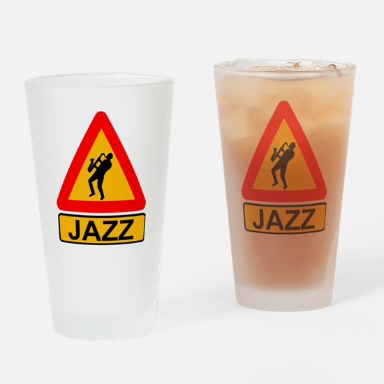 Jazz Caution Sign Drinking Glass