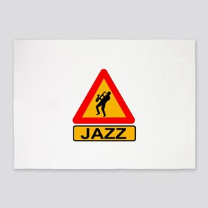 Jazz Caution Sign 5'x7'Area Rug