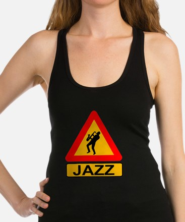 Jazz Caution Sign Racerback Tank Top