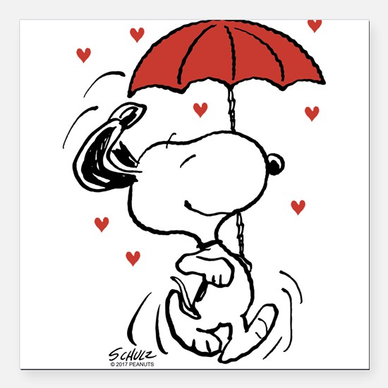 """Snoopy on Heart Square Car Magnet 3"""" x 3"""""""