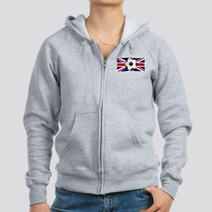 British Flag and Football Women's Zip Hoodie