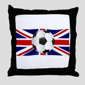 British Flag and Football Throw Pillow