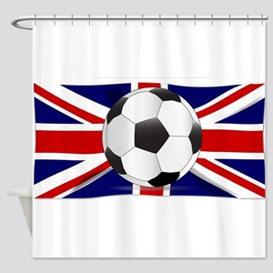 British Flag and Football Shower Curtain